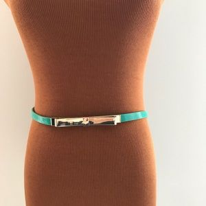 WHBM | Green Teal Leather Gold Thin Bow Belt Med.